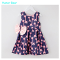 Humor Bear kids clothes summer style 2016 bowknot cute deer Girls Dress Baby Girl Clothes Children's Dresses kids Clothing