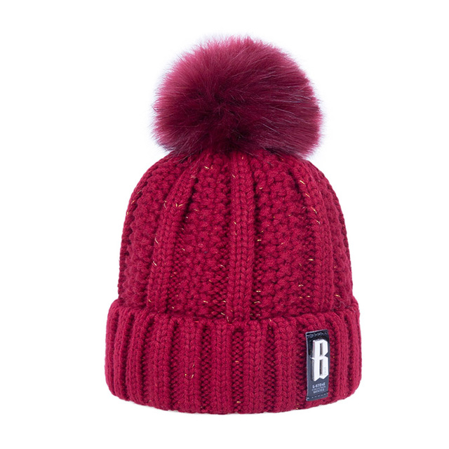 2018 New Pom Poms Winter Hat for Women Fashion Solid Warm Hats Knitted Beanies Cap Brand Thick Female Cap Wholesale