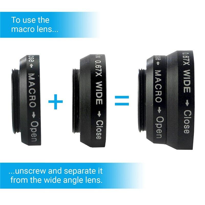 Appareil Photo Kit 12x objectif Zoom + accessoires + Fisheye + 2 in1 objectif Macro & grand Angle + étui pour samsung Galaxy S5 Neo S 6 9 S7 Edge S8 + - 3