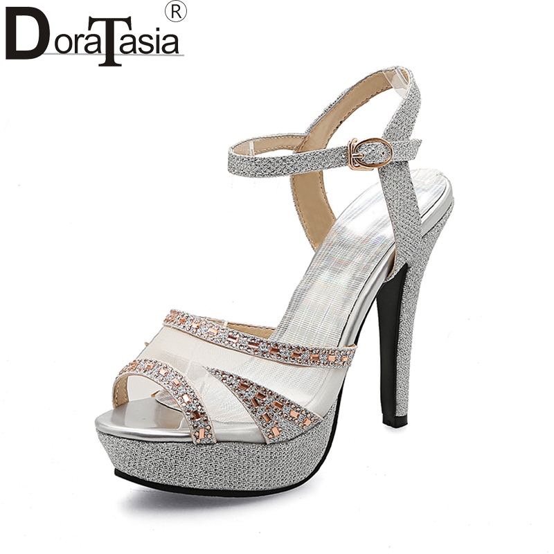 DoraTasia  Large Size 33-43 Thin High Heels Ankle Strap Women Shoes Woman Sexy Platform Summer Party Wedding Bride Sandals Woman gold silver pink gladiator sandals summer high heels platform shoes woman buckle strap pumps casual women shoes plus size 33 43