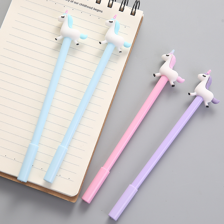3pcs/lot 0.38mm Black Ink Unicorn Kawaii for School Supplies Gel Pen Writing Supplies Stationery 3pcs 0 38mm gel pen cartoon black ink pen my melody kawaii student kids girl stationery office learning writing supplies