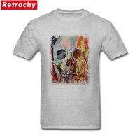 Người Đàn Ông gốc của Skull Cháy Tees Ngắn Tay Áo Bông Áo Phông Chủ Đề Nóng trang phục Guy Summer T-Shirts