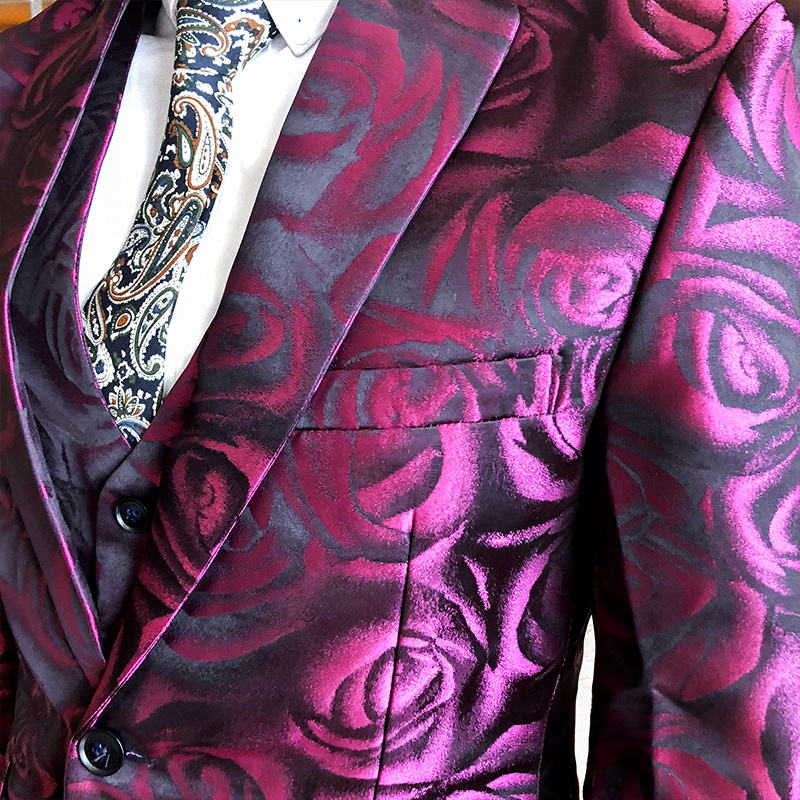 Image 5 - (Jacket +vest+pant ) Rose Pink Smoking Uomo  Grooms Suit Men Business Tuxedos Slim Fit Club Party Prom Suit Abito Uomo Cerimonia-in Suits from Men's Clothing