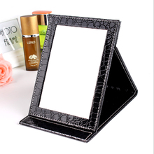 3 colors Alligator Pattern material Portable Makeup Mirror with PU Leather Cosmetic Women Beauty Foldable