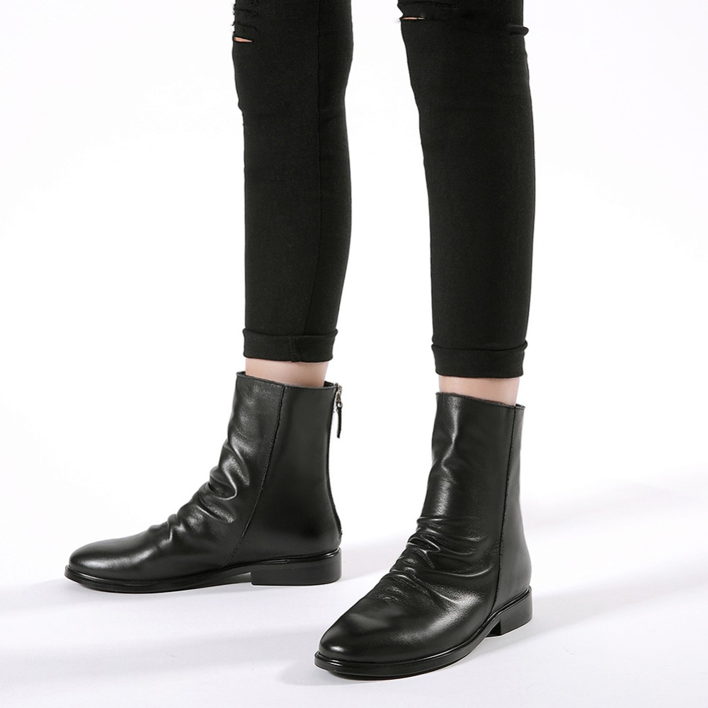 High QualityNew Ankle Boot Soft Leather Low Heel Women Boots Back Zip Short Boots Spring Autumn Boots Plus Size Shoes More Color alfani new black women s size small s mesh back high low ribbed blouse $59 259