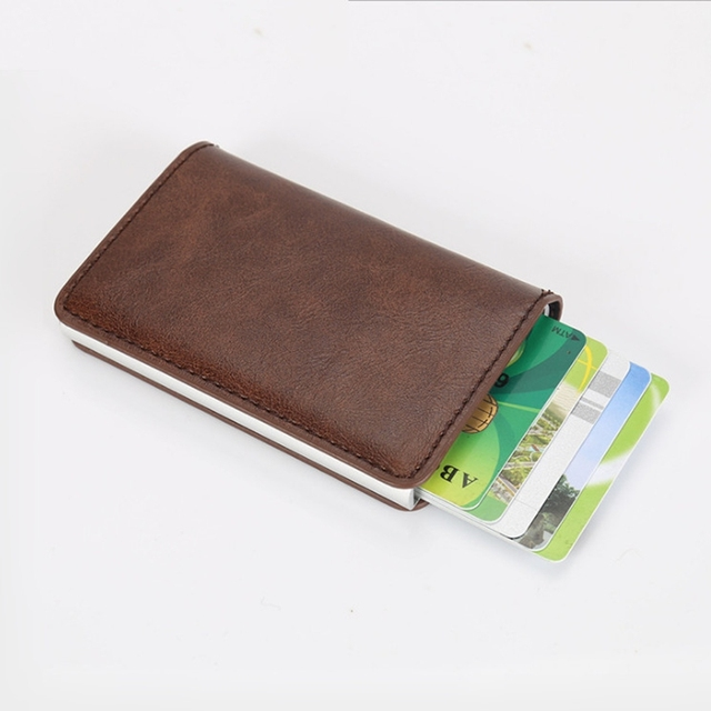 arrival new men blocking rfid wallet mini leather business aluminium credit card holder purse automatic pop - Card Holder