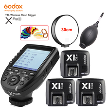Godox XPro-C Wireless Flash Trigger Transmitter X System for Support E-TTL II Auto + 3PCS X1R-C Receiver Canon Camera