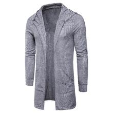 Men Fashion Autumn Solid Color Cardigan Long Sleeve Hooded Knitwear Sweater