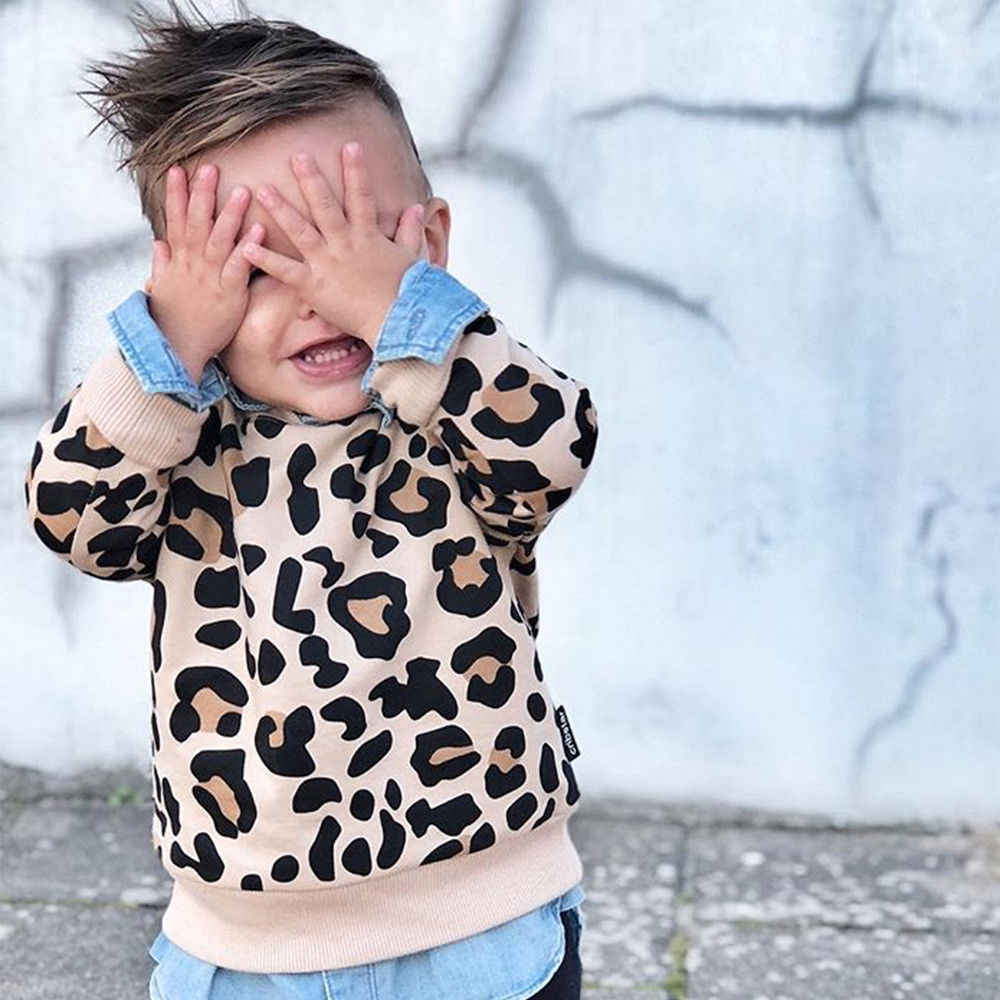 Новинка 2019 года; брендовые топы с леопардовым принтом для маленьких мальчиков и девочек; свитер с круглым вырезом и длинными рукавами; Милая одежда
