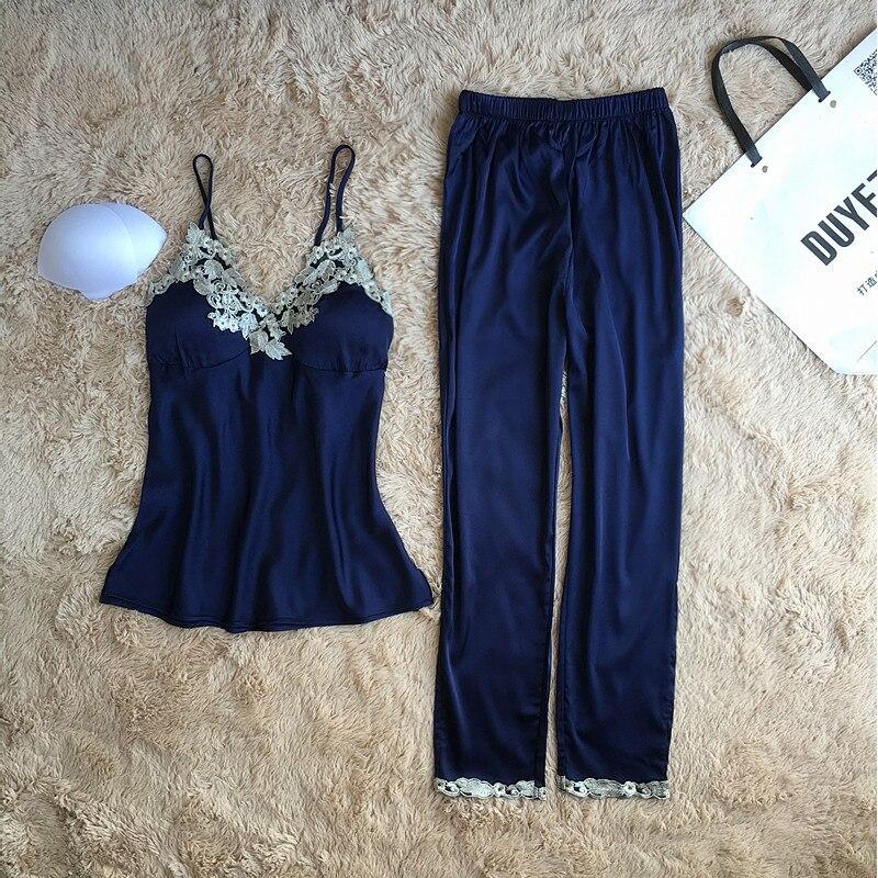 Sexy Summer Lace Pajamas Sleepwear For Women Sleeveless Spaghetti Strap Pyjamas Femme Top + Pants Pajamas Sets Nightwear Pijamas