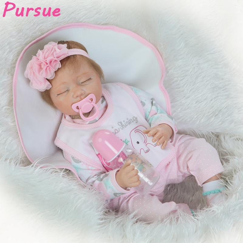 Pursue 22/55cm Soft Vinyl Silicone Reborn Babies Dolls Closed Eyes Sleeping for Sale bebe reborn menina real baratos dormindo