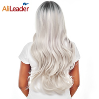 AliLeader Product Black To Gray Wig Long Body Wave 26 Inch 280G Heat Resistant Synthetic Hair Wigs For African American Women