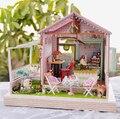 Chegam novas De Madeira Diy Doll House Modelo de Construção Kits Artesanais 3D Casa de Bonecas Em Miniatura Para casa de Bonecas Brinquedo Gits boneca