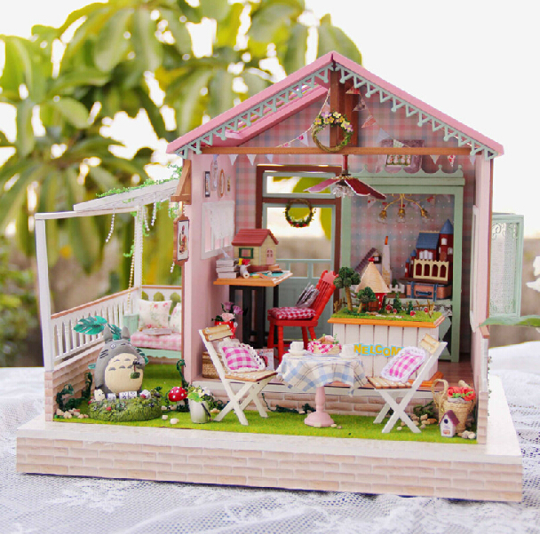 New Doll House Toy Miniature Wooden Doll House Loft With: New Arrive Diy Wooden Doll House Model Building Kits