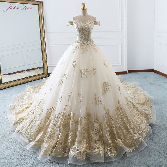 Elegant Shiny Embroidery Tulle Scalloped Bridal Dress Off The Shoulder Beading Pearls Royal Train Ball Gown Wedding Dresses