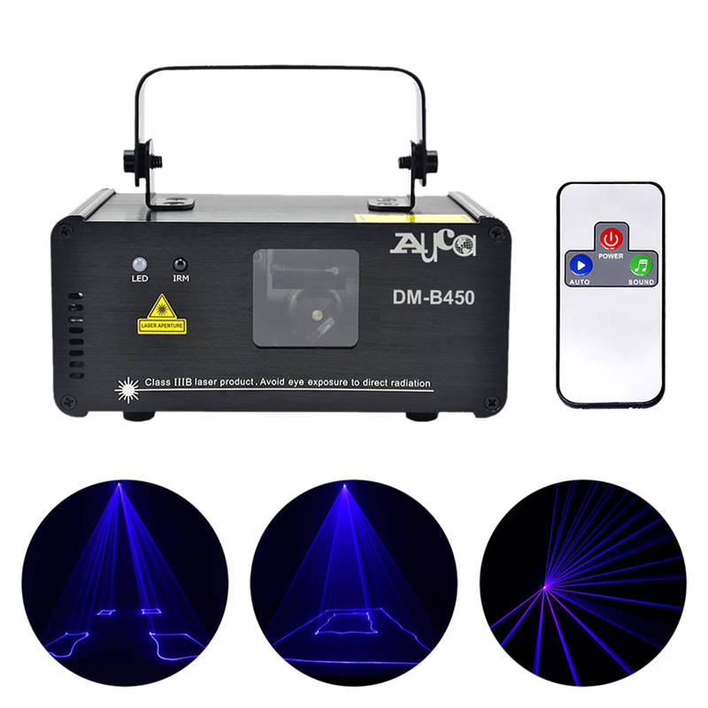 AUCD IR Remote PRO Mini 8 CH DMX 450mW Blue Laser DPSS Stage Lighting Scanner DJ Party Disco Show Led Projector Lights DM-B450 ...