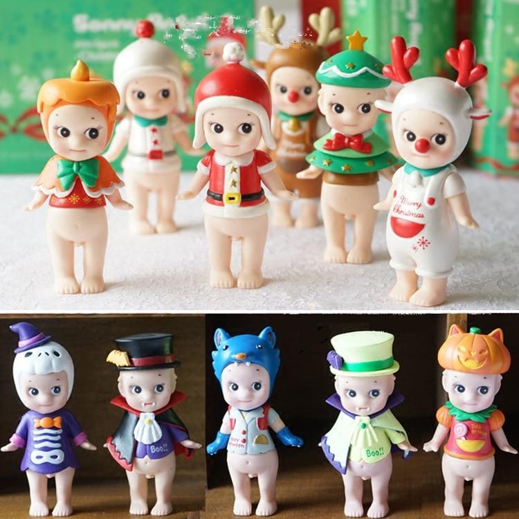 6 stks/set Mini Sonny Angel 2 Stijlen Kewpie Pop PVC Mini Figuur Leuke Beeldje Sonny Angel sonny angel mini figures easter series 6pcs set toys christmas