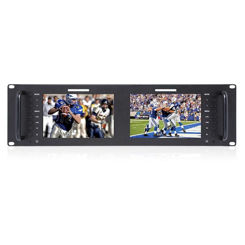 Dual 7 3RU IPS 1280x800 Broadcast LCD Rack Mount Monitor 3G-SDI HDMI AV input and output Dual Screen Industrial Monitor D71 sky 708 40ch 7 monitor hdmi input and diversity rx dvr ppm function