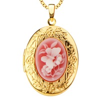 Design Fashion Vintage Oval Locket Pendants Jewelry 24k Gold Plating Put In Solid Perfume Or Pictures