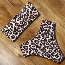 sexy bandeau bikini 2019 high waist bikini set leopard printed swimwear women bathing suit push up swimsuit swimming beach wear
