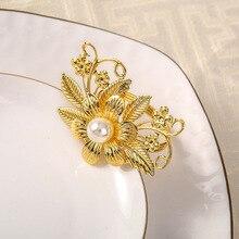6PCS metal flower and pearl Western napkin ring Hotel set table Wedding wedding buckle