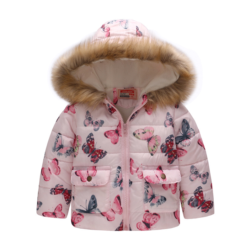 5740b82b4 Baby Girls Coat with Fur Hooded 2018 Kids Winter Coats for Girls ...