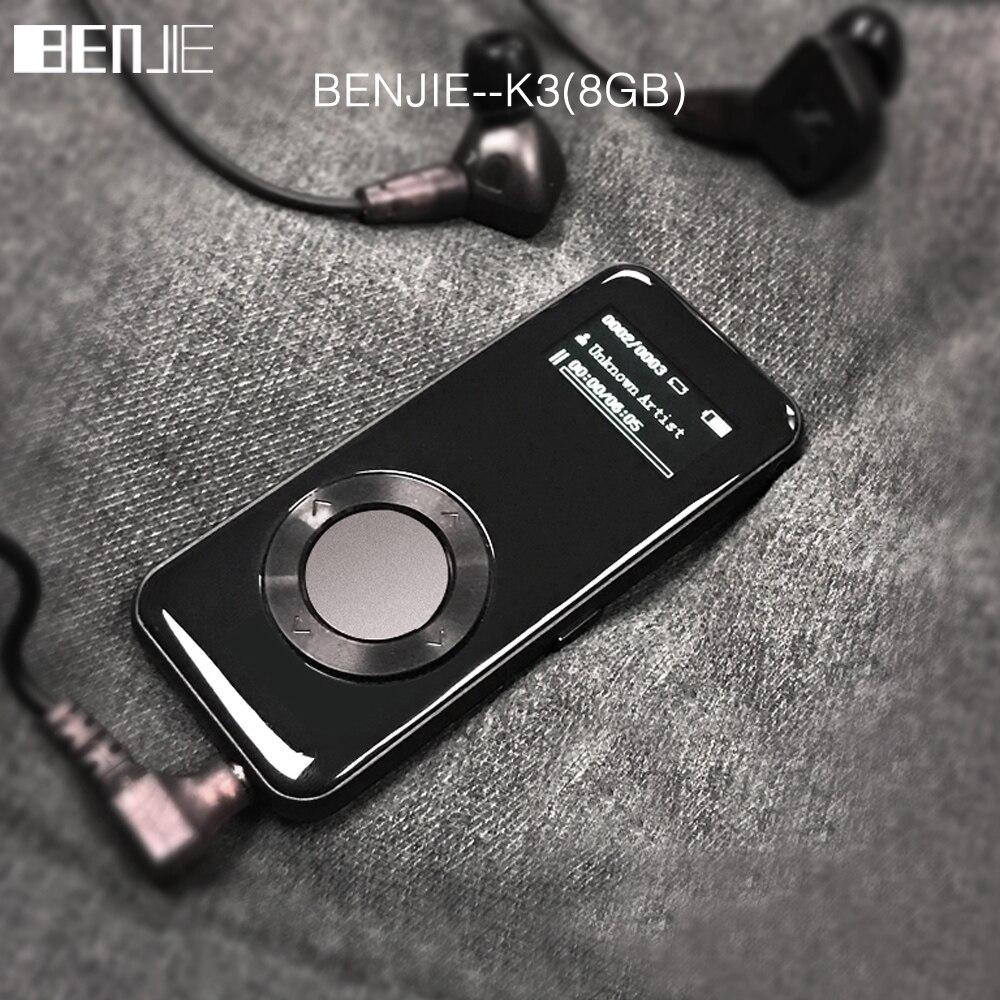 Liga HIFI MP3 Player BENJIE K3 mp3 music player 8 GB lossless mini Portáteis Audio player Rádio FM Ebook gravador de Voz gravador