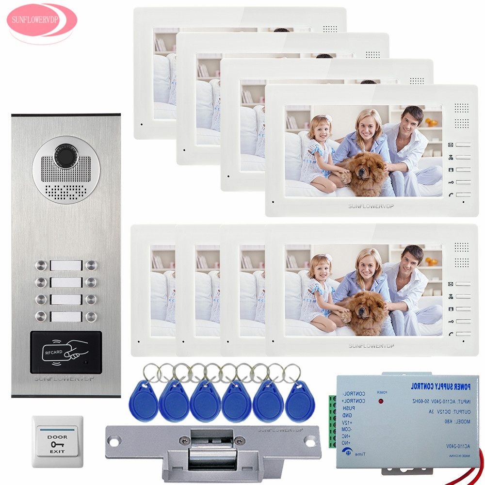7'' Video Doorbell Intercom With Wired Door Bell Rfid Access Control 8 Monitors Video Intercom 8 Keys+Door Bell Lock System Unit 7 inch screen indoor unit wired video intercom doorbell villa unlocking access control rain with night vision