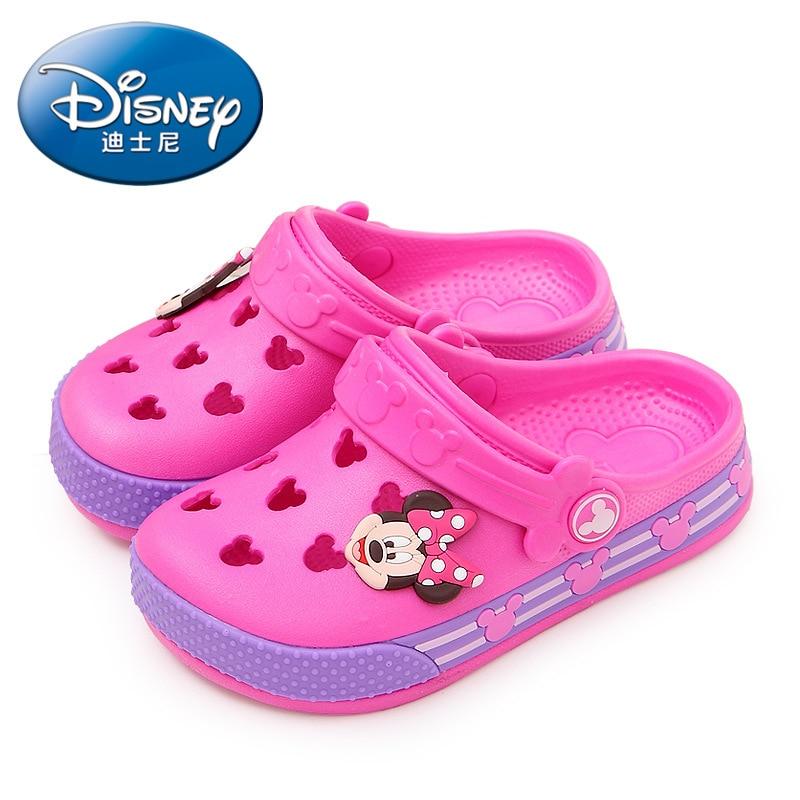 2019 Disney  Minnie Children's Hole Shoes Summer Baby Boy Mickey  Slippers Children's  Beach  Shoes 24-35