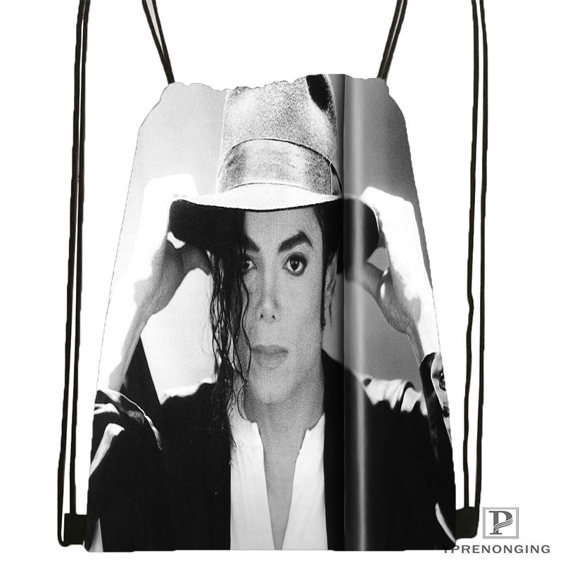 Custom Michael Jackson Drawstring Backpack Bag Cute Daypack Kids Satchel (Black Back) 31x40cm#180531-04-31