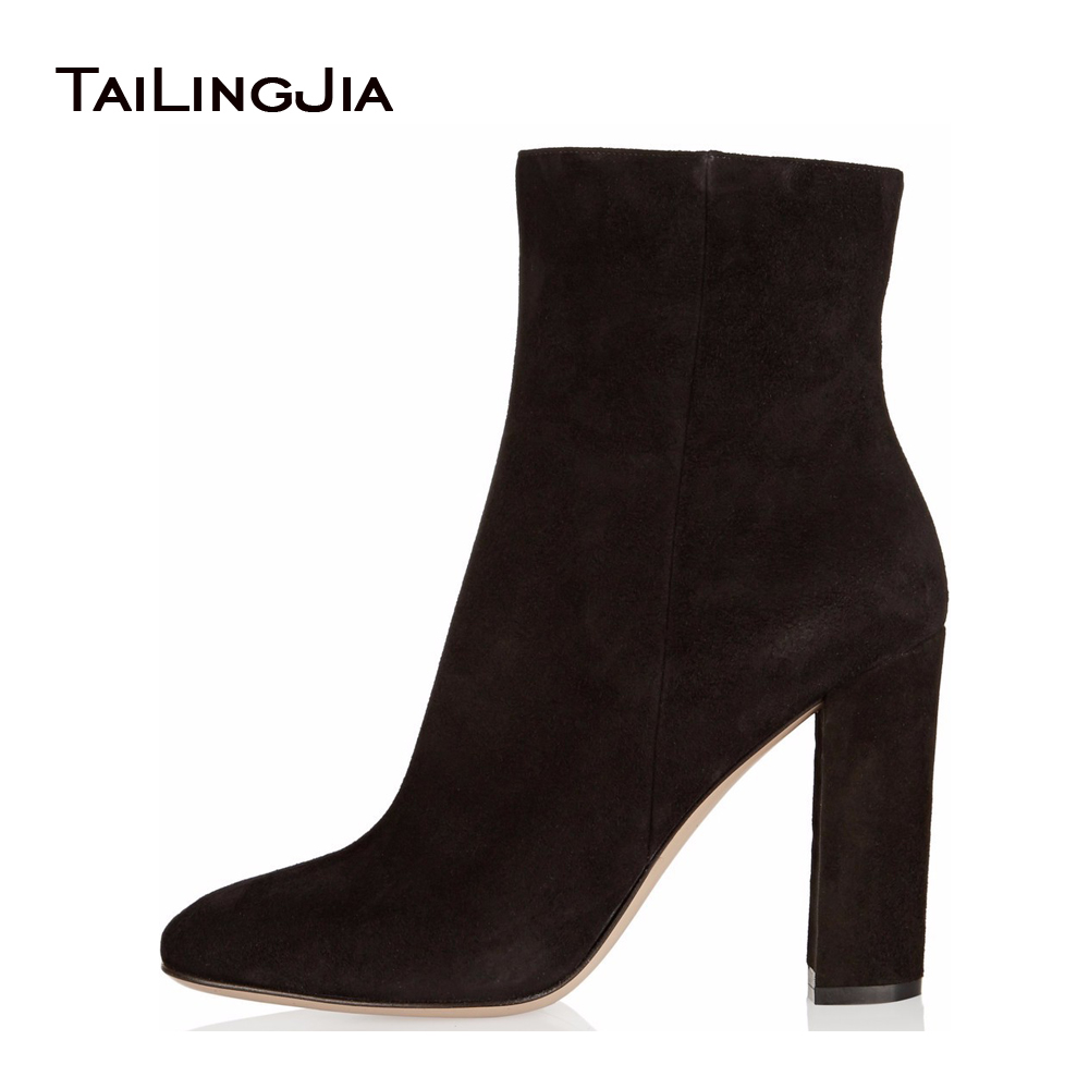 Ladies Boots 2017 Casual Winter Black Suede Round Toe Square Heel Ankle Boots For Women Custum Large Size Zipper Shoes US 4-15.5 ladies boots 2017 casual winter black suede round toe square heel ankle boots for women custum large size zipper shoes us 4 15 5