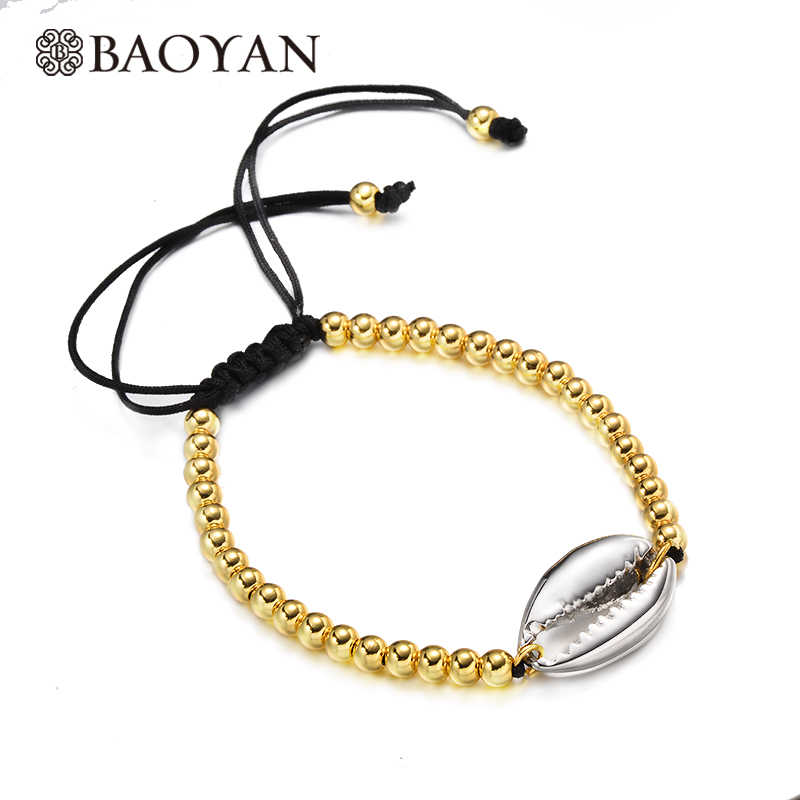 Baoyan Stainless Gold Beaded Charm Bracelet For Women Men Bohemian Shell Women Bracelets Ladaies Couple Fashion Bracelets Woman