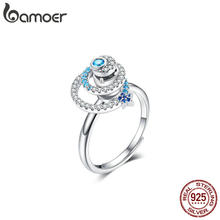 BAMOER Galaxy Star Adjustable Ring Genuine 925 Sterling Silver CZ Universe Planet Finger Ring Luxury Brand Jewelry BSR035(China)