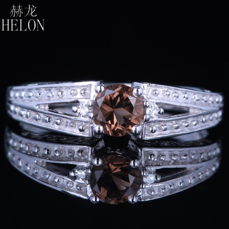 HELON Solid 14K White Gold 4.5mm Round Cut 100% Genuine Smokey Quartz Real Diamonds Jewelry Engagement Wedding Women Gift Ring цена