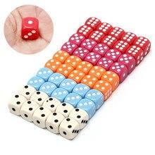 5 farben großhandel 14mm 10 teile/satz acryl bunte d6 würfel, 6 seitige glücksspiel kleine würfel für verkauf, weiß, rot, rosa, orange, blau