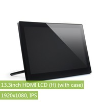 13.3inch HDMI LCD (H) IPS Display with Toughened Glass Cover work as computer monitor supports Windows 10 Raspberry Pi BB Black