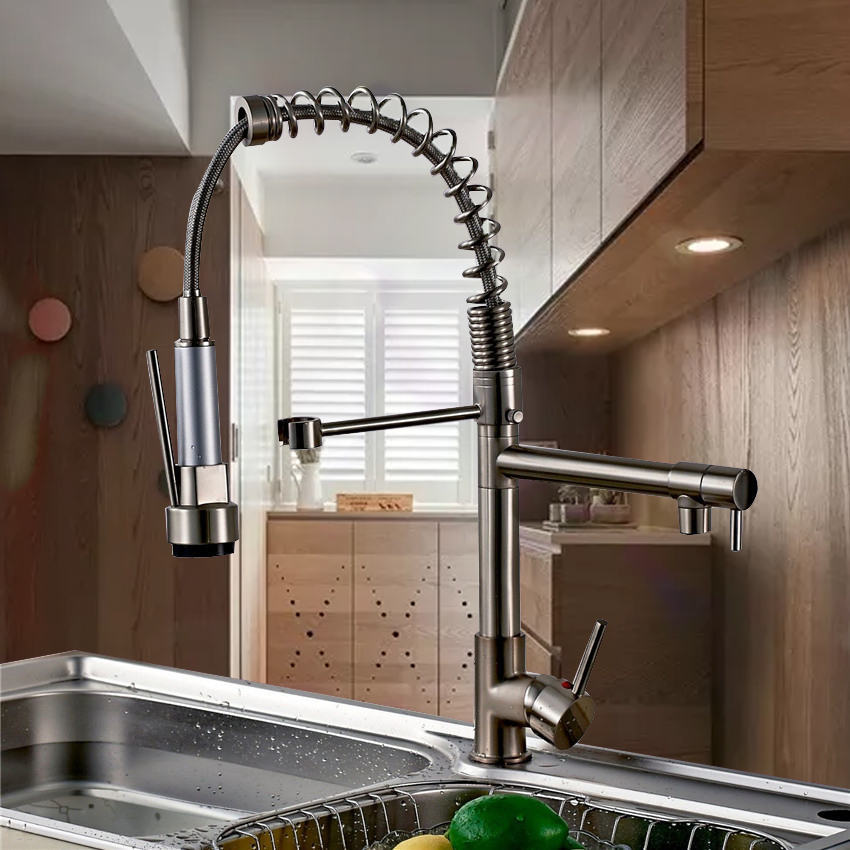 Yanksmart Modern Luxury Dual Spouts Pull Out Down Kitchen Faucets torneira da cozinha Deck Mounted Sprayer