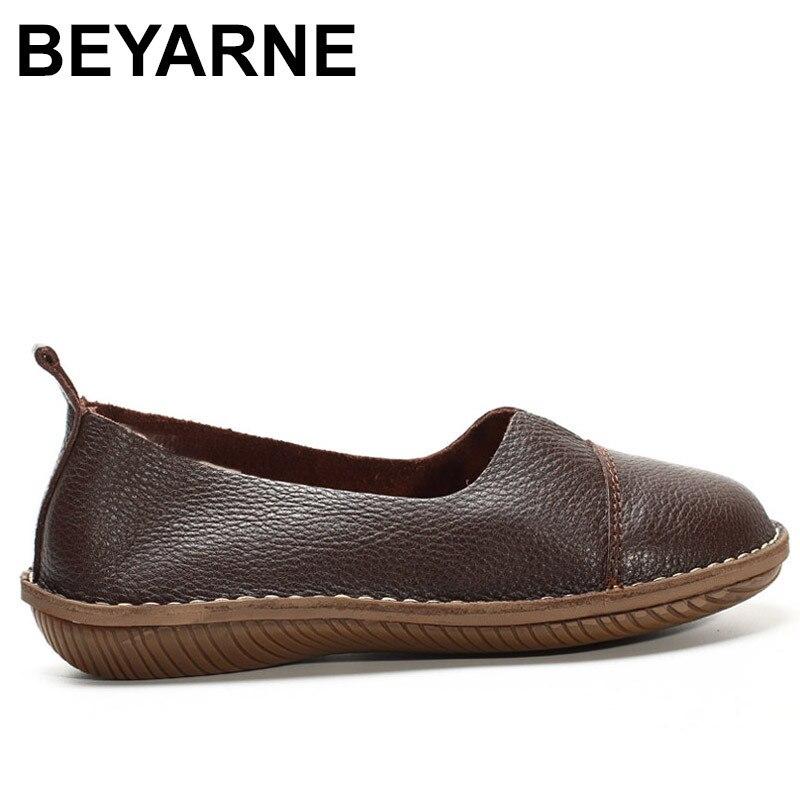 De Beyarne Automne Bout En Sur Rouge Café Coffee Glissement Blanc Rond rose Appartements Printemps Chaussures Véritable Mocassins Cuir Femmes rBrRv