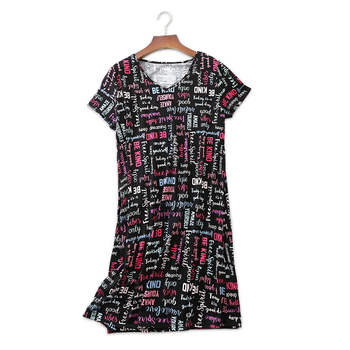 Black Loose Sleepwear Dress Women Sheer Chemise Nightdress 100 Cotton Plus  Size 90KG Ladies Sexy Nightwear 3eaeee32a