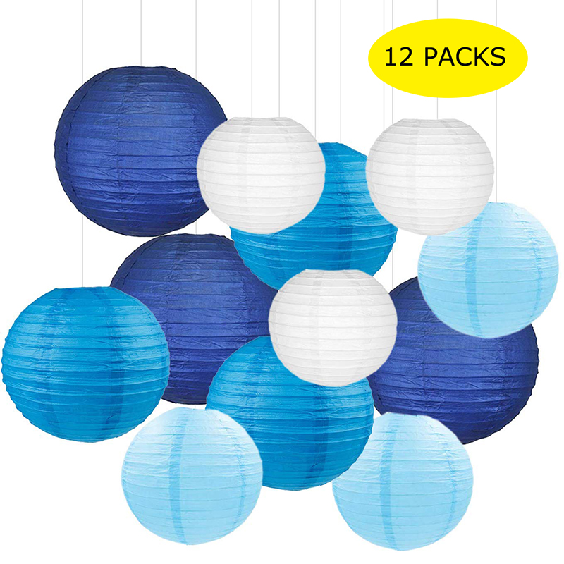 Navy Blue 12PCS Paper Lanterns with Assorted Colors and Sizes Paper Lanterns Decorative,Chinese//Japanese Paper Hanging Decorations Ball Lanterns Lamps for Home Decor Parties and Weddings