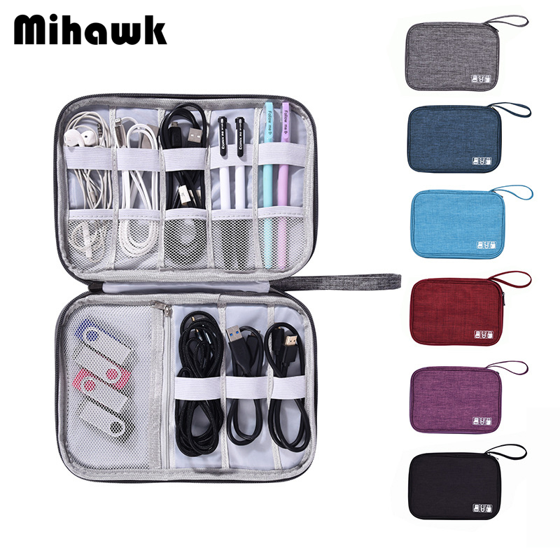 Mihawk Travel Cable Charger Digital Bags Waterproof Earphone Wire Organizer Headphones Power Cord Gadget Case Pouch Accessories