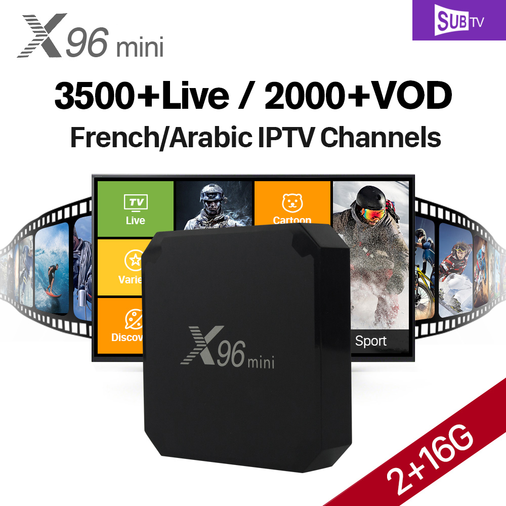 X96 mini Android 7.1 TV Box SUBTV Subscription Arabic French IPTV Box 2G 16G H.265 4K X96mini IP TV Box Turkish Brazil Portugal