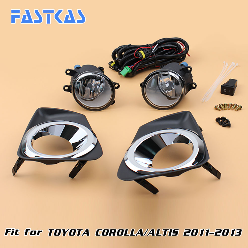 12v Car Fog Light Assembly for Toyota Corolla/Altis 2011-2013 chrom Front Left and Right set Fog Light Lamp with Harness Relay 2 pcs set car styling front bumper light fog lamps for toyota venza 2009 10 11 12 13 14 81210 06052 left right