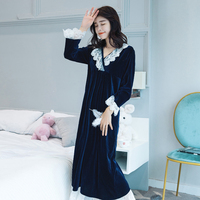 Winter And Autumn Long Sleeved French Court Velvet Loose Nightdress V Neck Lace Elegant Comfortable Solid Mid Calf Nightgowns