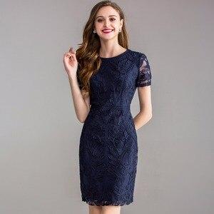 Image 4 - Werk Office zomer lente jurk 2018 nieuwe Kleding vrouwen elegante dames Feestjurk plus size 3xl O hals Pakket heupen Potlood jurk