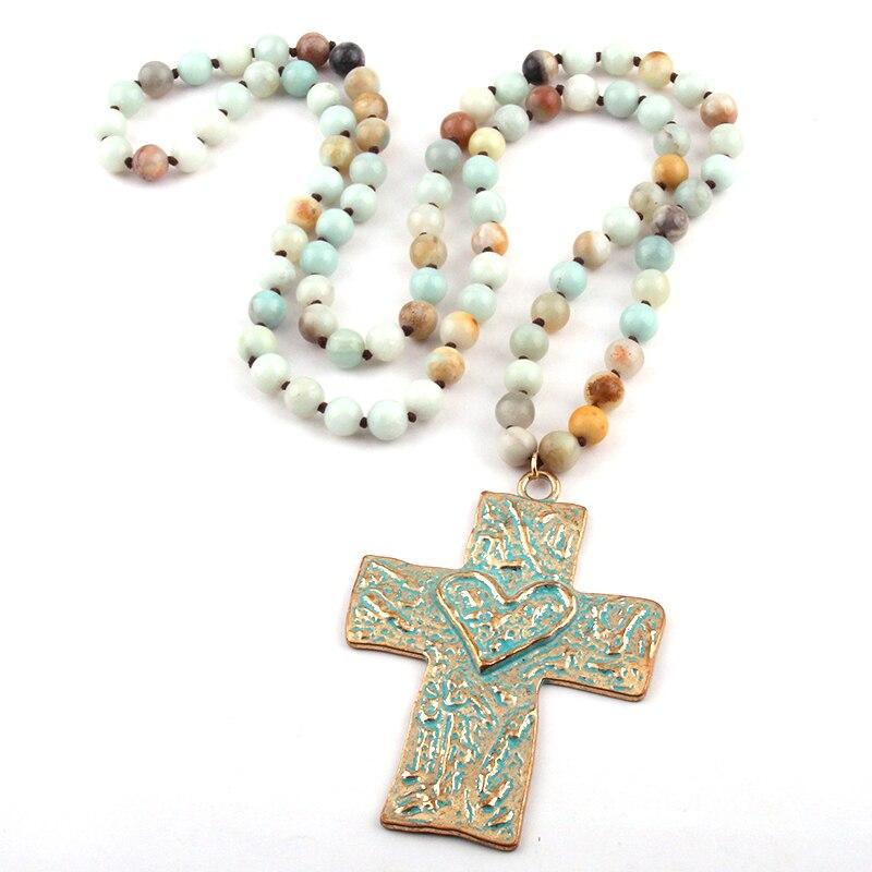 Бесплатная доставка, богемные ювелирные изделия, длинные узелковые камни амазонита, крест, ожерелье для женщин