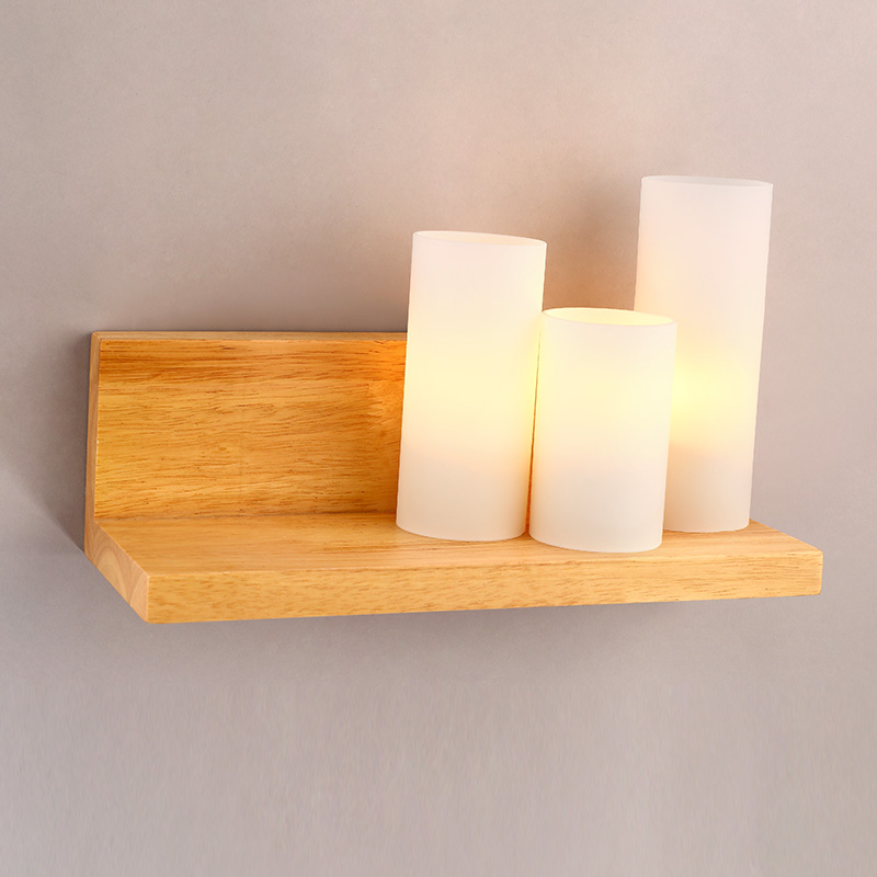 wood+white Glass shade bedroom Modern simple LED candle wall light solid living room bedside Personality creative wall lamp ZA fashion nordic living room bedside wall lamp porch balcony porch light solid wood creative light simple black and white