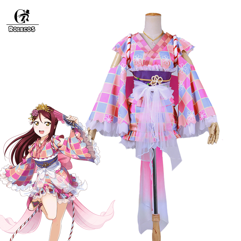 ROLECOS Aqours Lovelive Sunshine Cosplay Kimono All Characters School Idol Love Live Cosplay Costumes Sakurauchi Riko Ruby Dia