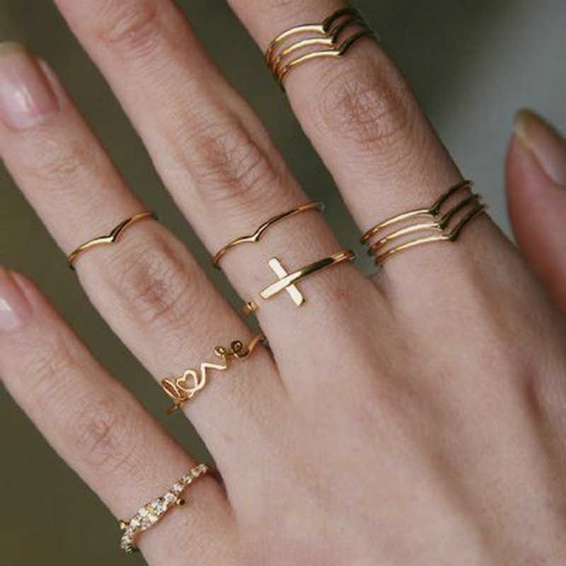 Fashionable Fashion Jewelry New Cross Love Letter Knotted Ring Set Vintage Anillos Rings For Women World Of Warcraft Punk