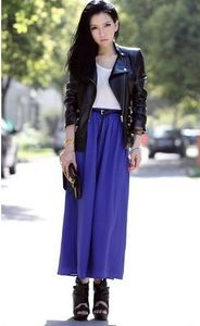 Image 4 - Free Shipping New Brand Designer Hot Sale Candy Colors High Quality Sexy Long Chiffon Skirt Pink Blue Black Red White Green C003